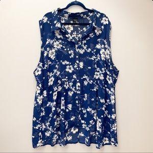 TORRID navy floral sleeveless shirt, 5X.
